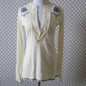 Aritzia TNA Embroidered Braided Tunic Top Blouse S